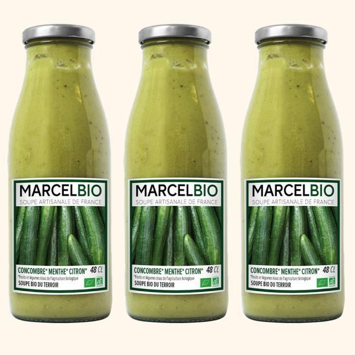 Marcel Bio - Soupe Froide Concombre Menthe Citron Bio 48cl - Pack de 3