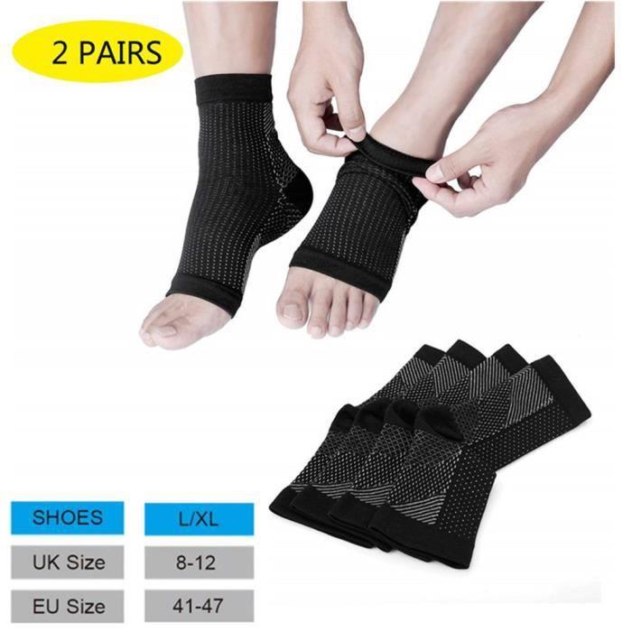 Chevillère pour homme et femme, pied Bandage de, bas de compression pour effecktiv Compression Courir & Sport (2 paires)-L/XL