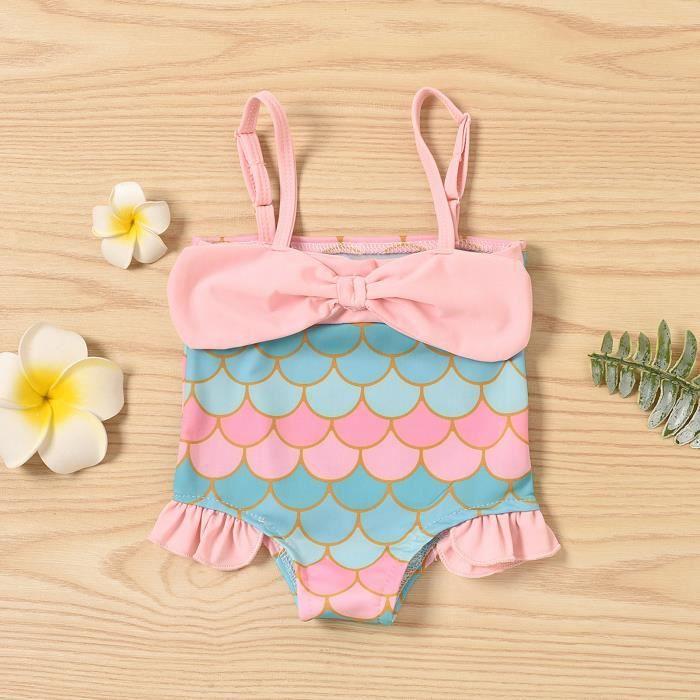 Maillot de bain maillot de bain bébé fille sirène Squama imprimé maillot de bain maillot de bainRose