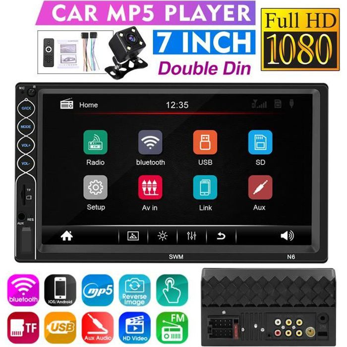 NEUFU AUTORADIO 7-Pouces 2 Din Écran tactile HD Lecture de Voiture Stéréo bluetooth GPS NAV MP5 FM USB