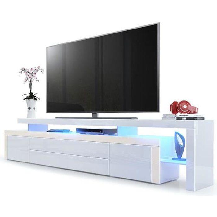 Meuble tv Crème / Blanc laqué 227 cm avec led