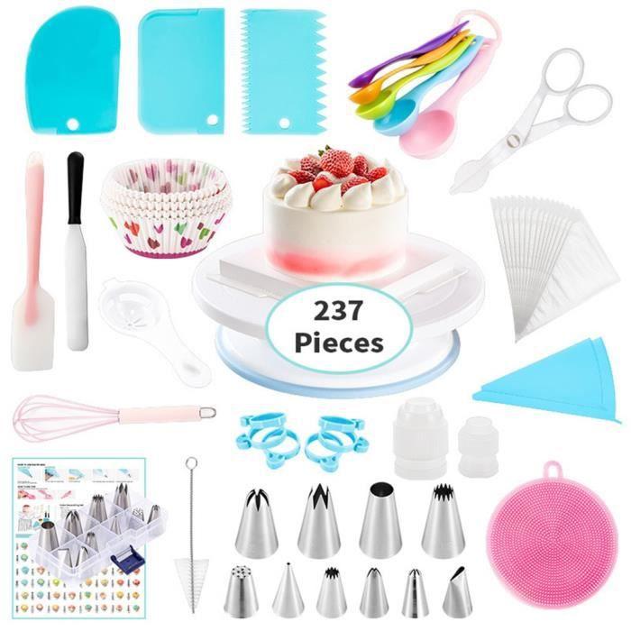 237 pcs - ensemble gâteau plateau tournant ensemble multifonction gâteau décoration kit pâtisserie tube fête