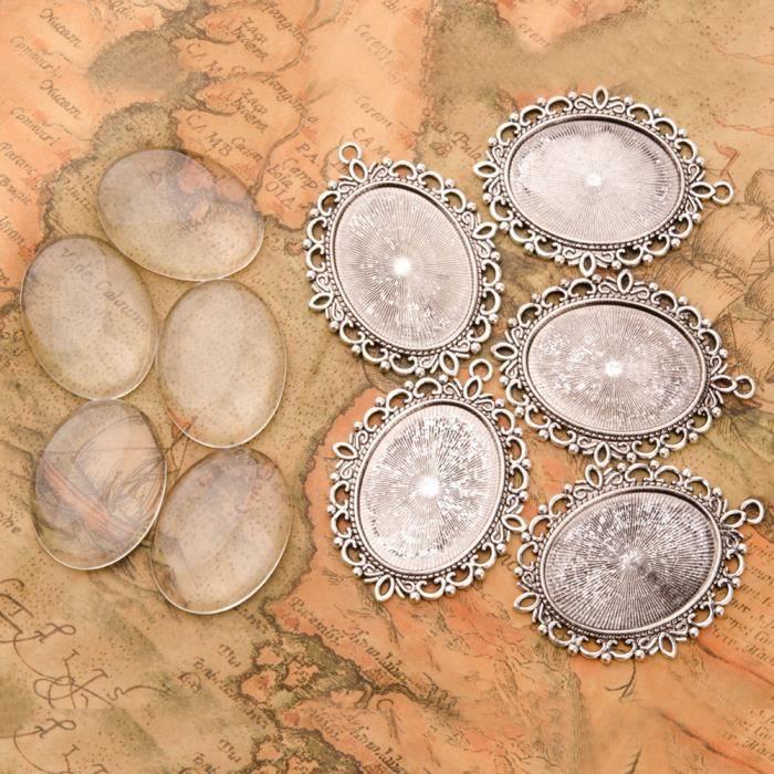 PandaHall-Lot de 5 pcs Cabochon en verre et Supports Cabochon Pendentif en alliage, ovale, sans cadmium et sans plomb