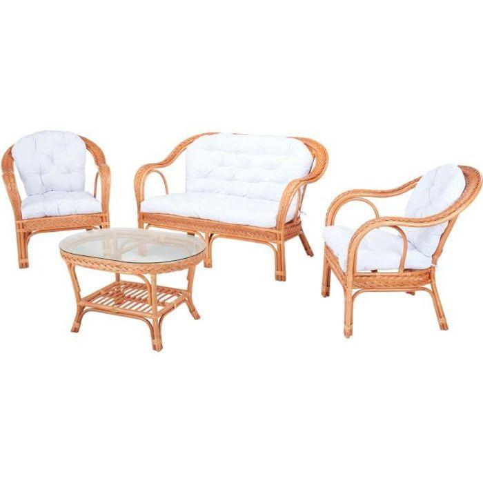 Salon d'intérieur EDELWEIS en rotin orangé et coussin blanc - Rotin Design