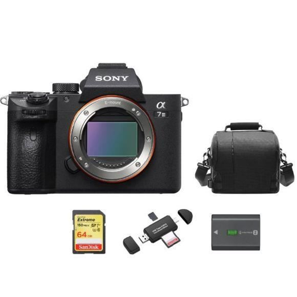 SONY A7 III Body + 64GB SD card + camera Bag + NP-FZ100 Battery + Memory Card Reader