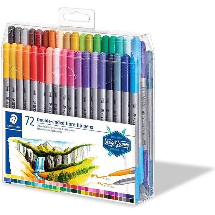 STAEDTLER® 3200 Design Journey - Set 72 feutres de coloriage double pointe 3,0 mm et 0,5 - 0,8 mm assortis