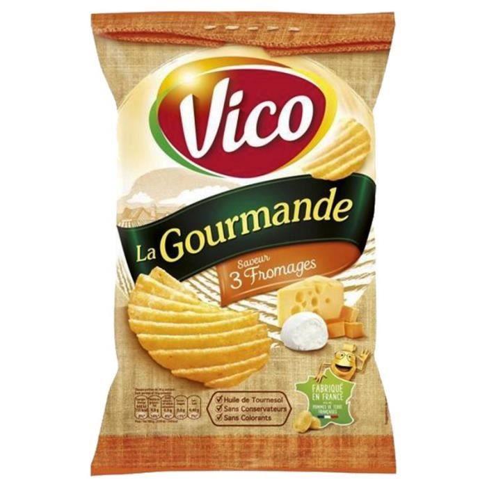 Vico Chips La Gourmande 3 Fromages 120g (lot de 10 x 6 paquets)