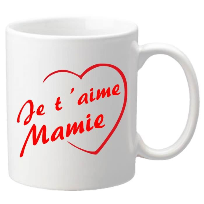 mug je t 39 aime mamie cadeau pour la f te des grands m res no l anniversaire p ques. Black Bedroom Furniture Sets. Home Design Ideas