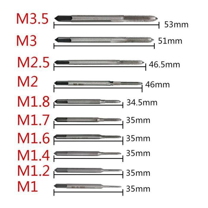 7 × M3 M4 M5 M6 M8 M10 M12 à Goujures Droites Vis Métrique main robinet pour métaux