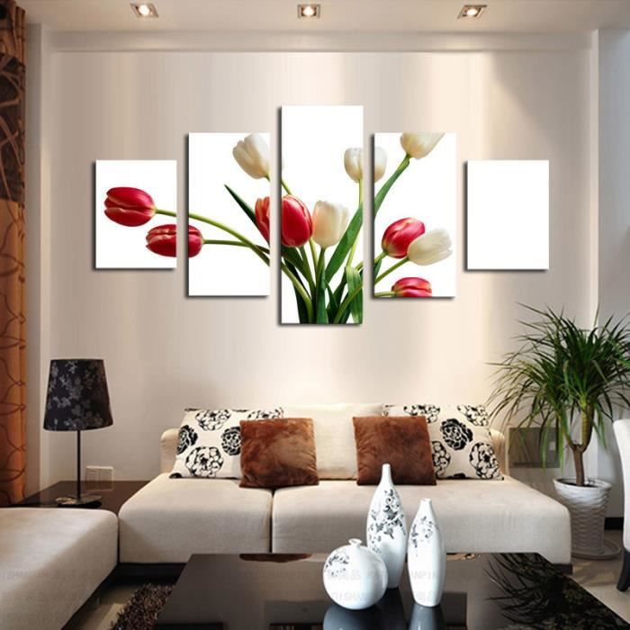 5 pi ce rouge blanc fleurs peinture moderne maison salon d cor orchid e hd imprimer photo. Black Bedroom Furniture Sets. Home Design Ideas