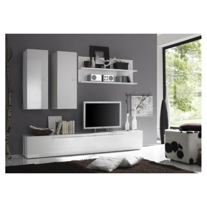 ensemble meuble tv mural laqu glossy f achat vente. Black Bedroom Furniture Sets. Home Design Ideas