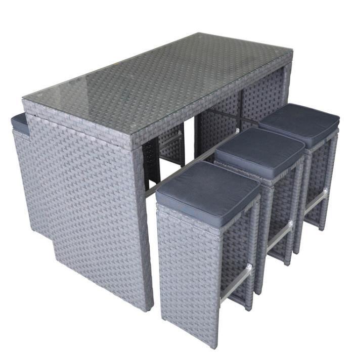 Salon de jardin haut en résine tressée : table haute + 6 ...