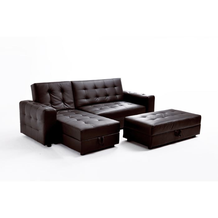 canap d 39 angle convertible simili cuir chocolat achat. Black Bedroom Furniture Sets. Home Design Ideas
