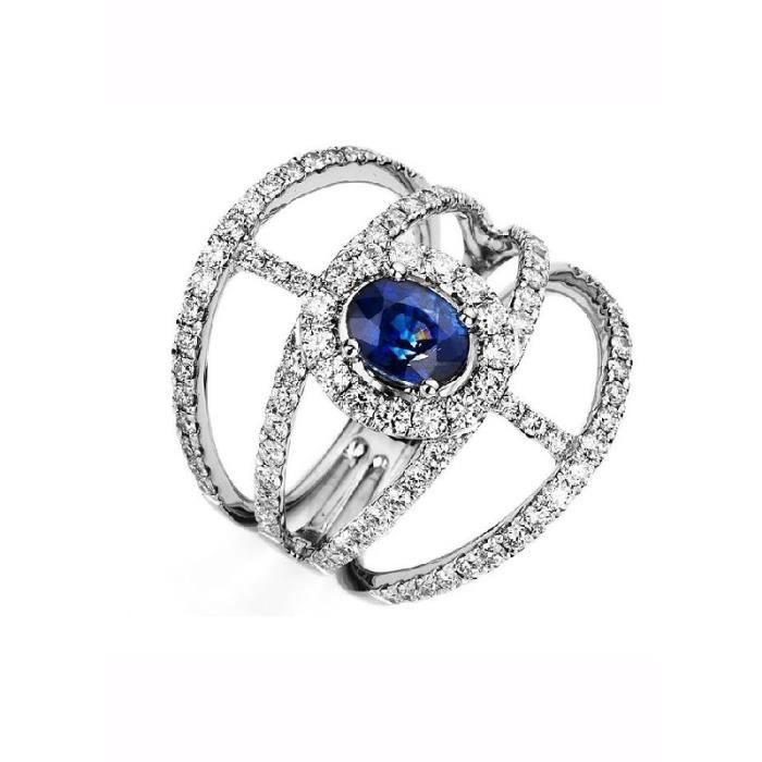 bague diamant avec saphir