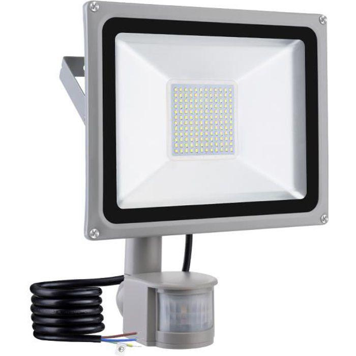 100W Projecteur led exterieur avec detecteur, Lampe Jardin Applique murale  exterieure LED avec detecteur de mouvement, Blanc froid