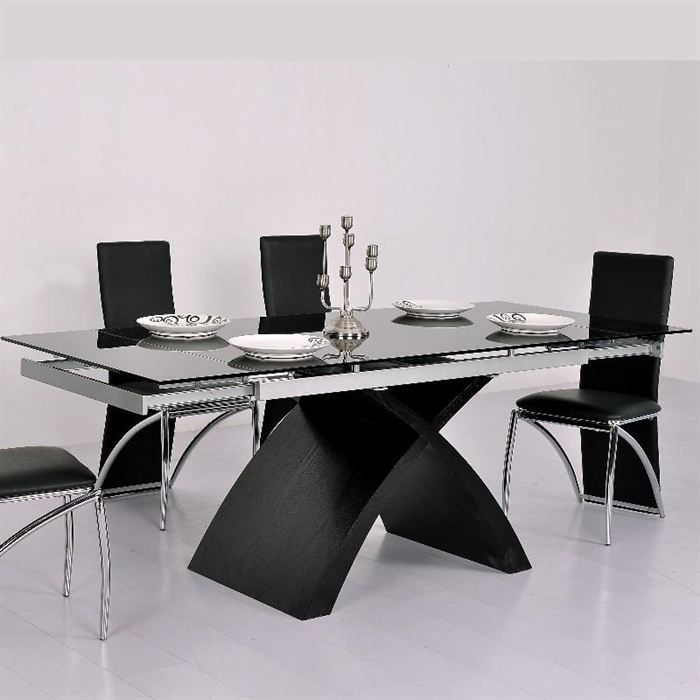 table en verre noire rallonge extensible xures achat vente table manger seule table en. Black Bedroom Furniture Sets. Home Design Ideas