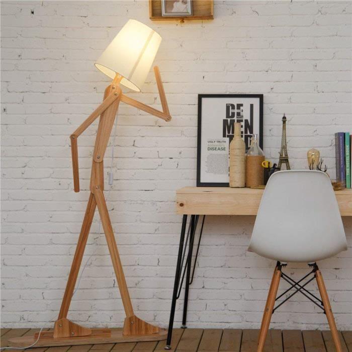 Nordique Decoratif Lampadaire de Salon Moderne Lampe sur Pied Bois avec  Abat Jour Blanc Reglable Lampe de Sol Chambre Design