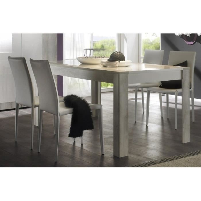 table de salle manger blanc laqu et pin blanchi tryanon. Black Bedroom Furniture Sets. Home Design Ideas