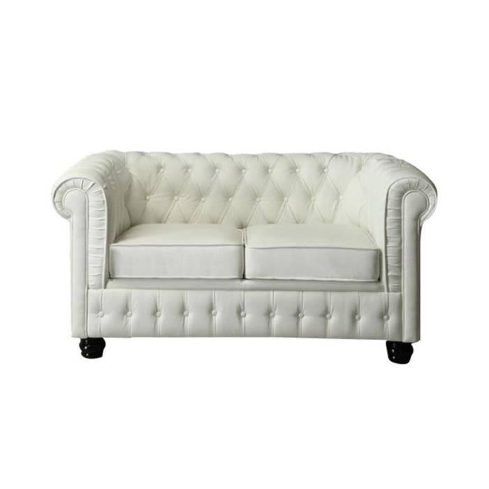 canap cuir chesterfield 2 places blanc cuir pvc achat. Black Bedroom Furniture Sets. Home Design Ideas