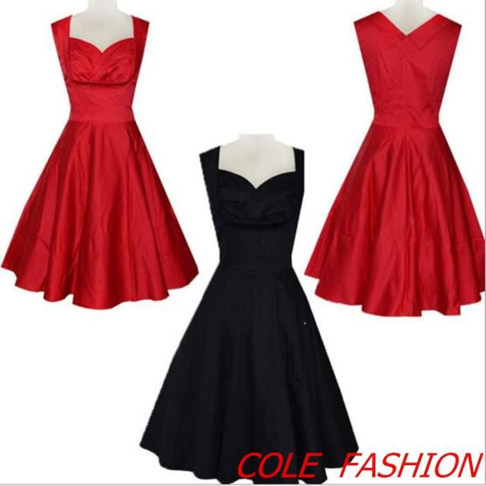 robe de soiree vintage bal style ann es 50 rock rouge achat vente robe soldes cdiscount. Black Bedroom Furniture Sets. Home Design Ideas