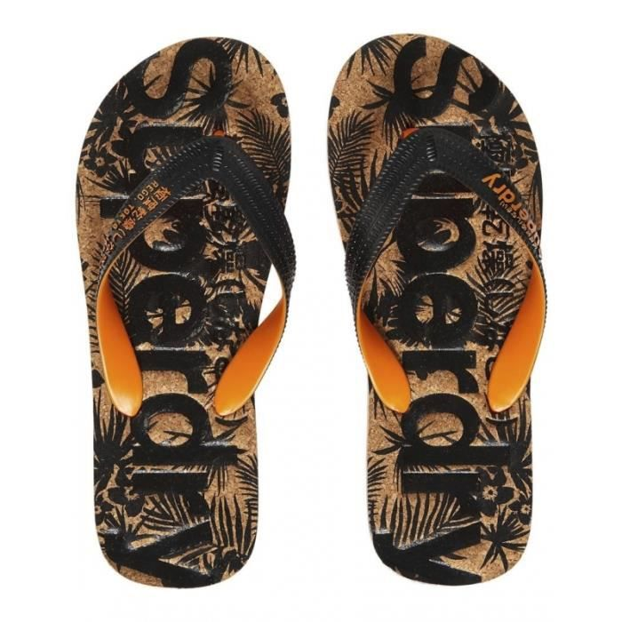Tongs Superdry Printed Cork Flip Flop Black/jaffa