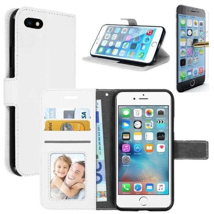 coque iphone 5 5s rabat portefeuille blanc verre