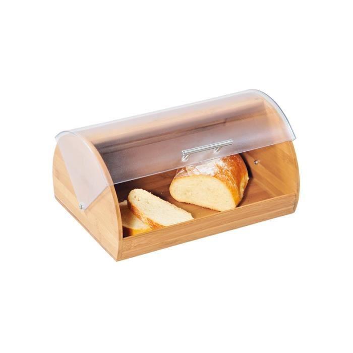 BOITE - SAC A PAIN Boite à pain en bambou avec couvercle transparent