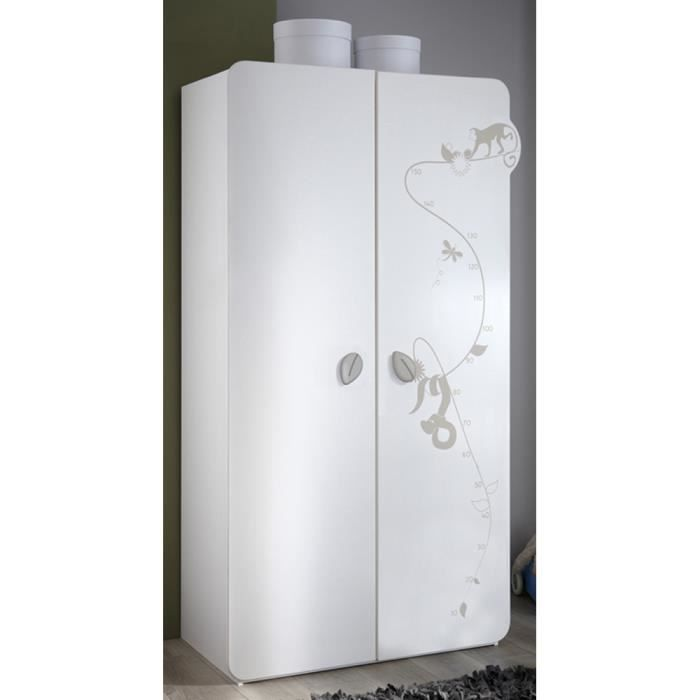 armoire enfant 2 portes coloris blanc velours achat. Black Bedroom Furniture Sets. Home Design Ideas