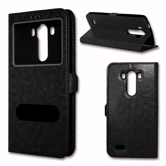 Etui housse coque folio noir pour huawei honor 5x by ph26 for Housse honor 5x