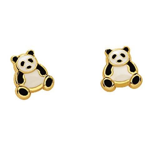 boucles d 39 oreilles enfant panda laqu or jaune 750 achat vente boucle d 39 oreille so chic. Black Bedroom Furniture Sets. Home Design Ideas