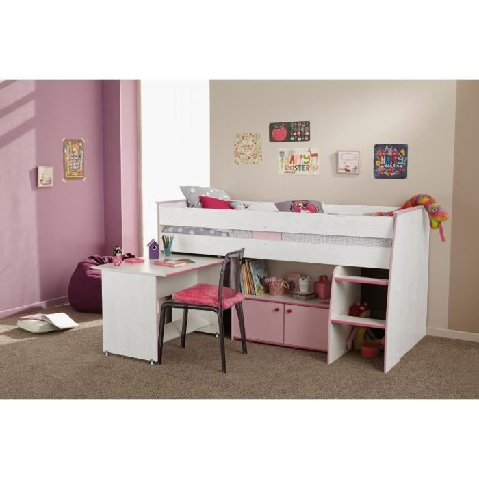 emma lit enfant combin pin lasur blanc et rose achat vente lit mezzanine emma lit combin. Black Bedroom Furniture Sets. Home Design Ideas