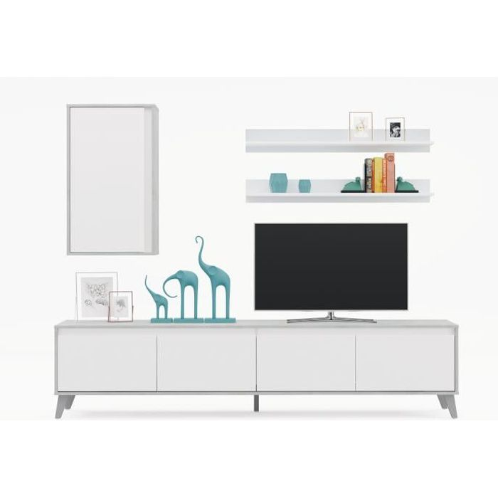 ALLURE Meuble TV de 4 portes - Décor béton blanc - L 200 x P 41 x H 50 cm