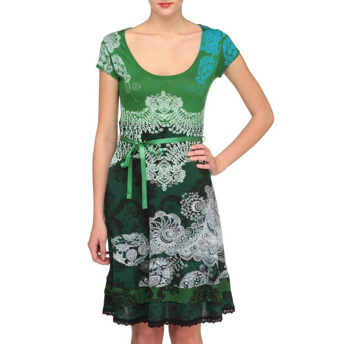 desigual robe paris femme vert achat vente robe cdiscount. Black Bedroom Furniture Sets. Home Design Ideas