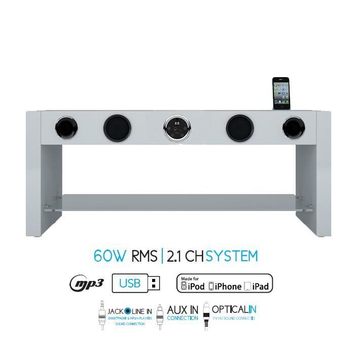 Charmant SOUNDVISION SoundStand80W Meuble TV HiFi Blanc Blu