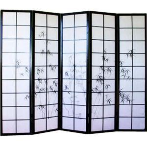 PARAVENT Paravent japonais en bois noir dessin bambou de…
