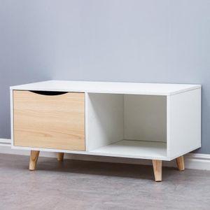 TABLE BASSE AYUNS Table basse scandinave blanc et chêne - L 90