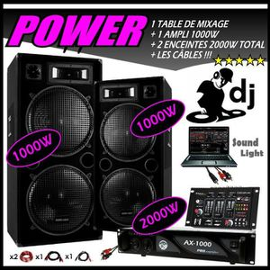PACK SONO PACK SONO 3000W complet + TABLE DE MIXAGE USB + 2