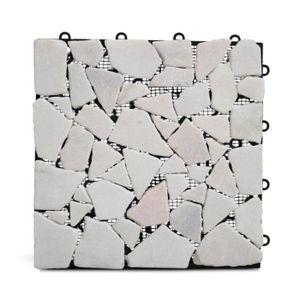 DALLAGE Dalle de terasse clipsable galets de marbres blanc