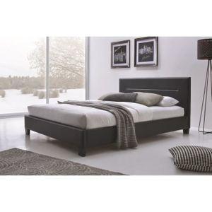 STRUCTURE DE LIT Lit MITCH 160x200 cm en simili cuir, coloris noir,