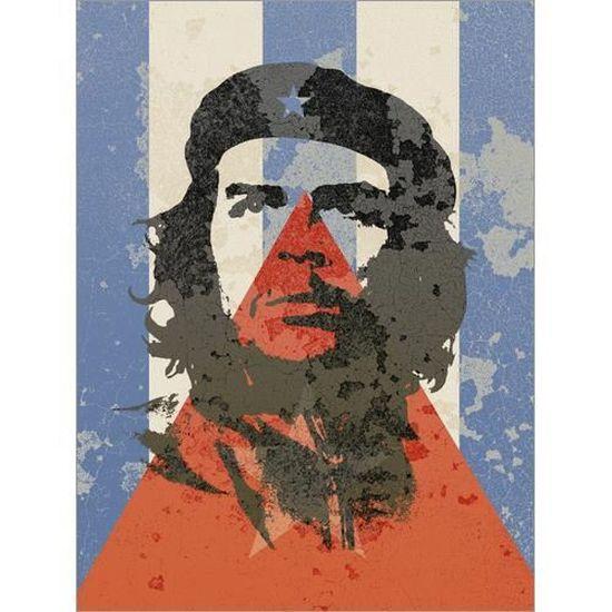 Tableau sur toile Drapeau cubain et Che Guevara Alex Saberi