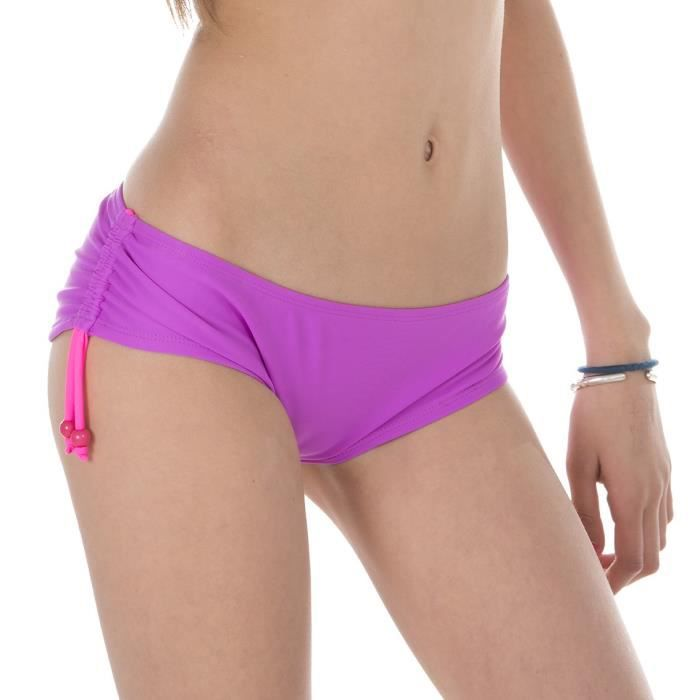FREEGUN Shorty de bain Uni - Fille - Violet