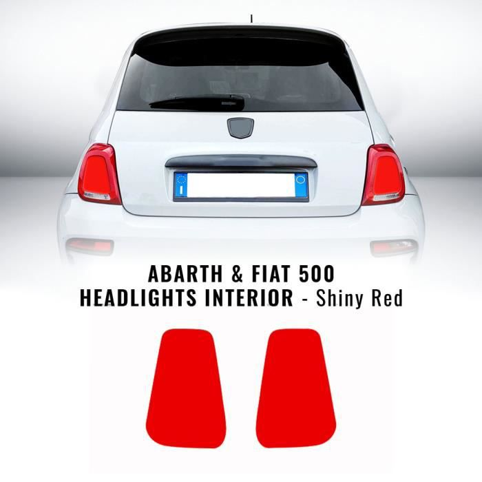 Autocollants Stickers Intérieurs Phares Abarth et Fiat 500, Rouge Brillant, Droite et Gauche