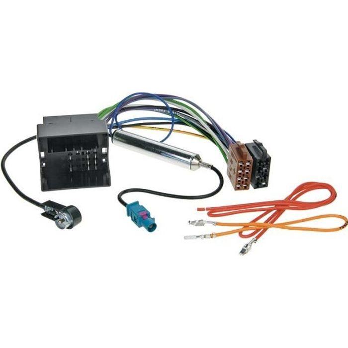 Faisceau autoradio ISO Audi / Seat / Skoda / VW avec amplificateur d'antenne phantom