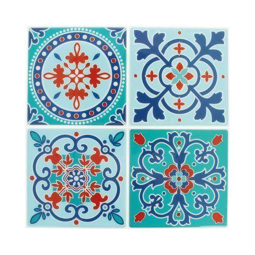 Sticker mosaïque autocollant 12,5cm carreaux ciment 6 - Artémio Multicolore - Assort.