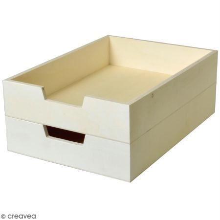 Bac à courrier en bois à décorer - 21 x 30 cm - 2 pcs Corbeille à courrier en bois à personnaliser :Lot de 2 pcsMatière : Bois