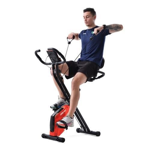 Vélo d'appartement pliable X-Bike vélo de fitness pour vélos d'appartement, siège et dossier rembourrés—ROUGE