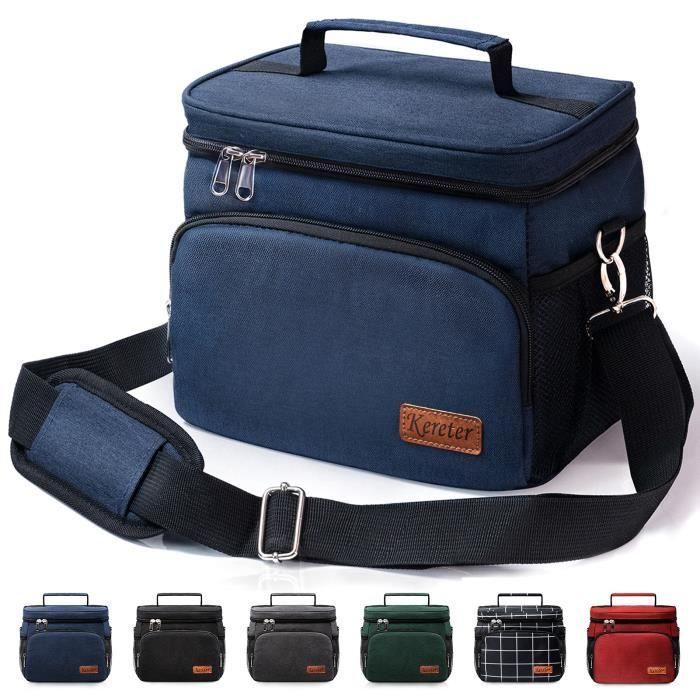 Lunch Bag Réutilisable&Sac Repas Isotherme&Sac Fourre Tout étanche&Sac à Bento Congelable Avec Bandoulière Réglable(Bleu foncé)