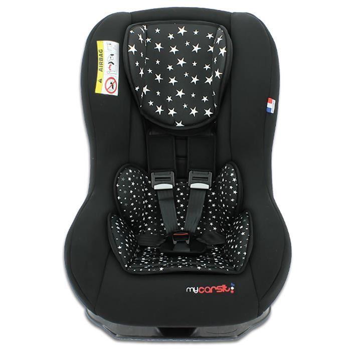 Siège auto DRIVER, Groupe 0+/1 (de 0 à 18 kg), Custo Stars Black, 3 étoiles ADAC, Fabriqué en France