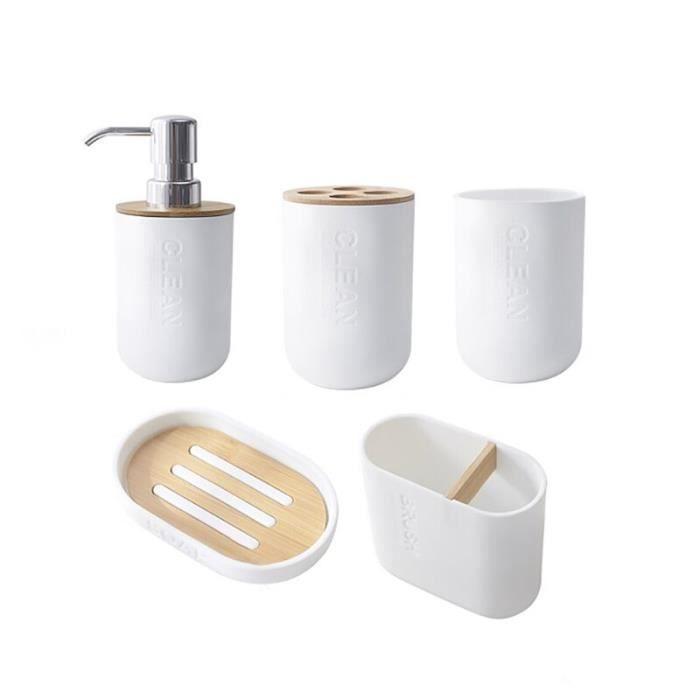 accessoires de salle de bain en bambou, distributeur de savon-gobelet-porte-savon, produits pour la maison [C71B4EC]