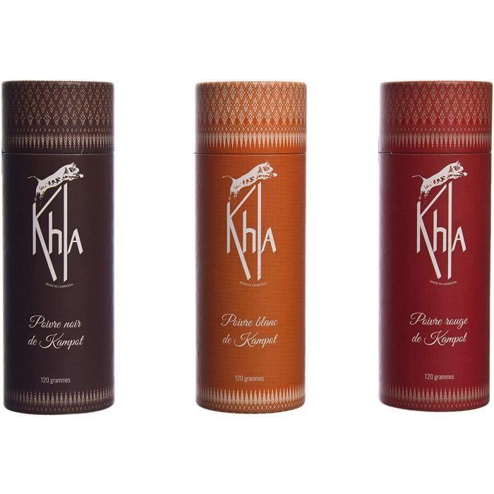 KHLA - Coffret Poivre de Kampot Noir Blanc Rouge Premium IGP en grains